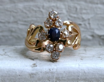 Gorgeous Antique 18K Yellow Gold Diamond and Sapphire Ring - 1.05ct.
