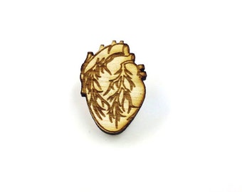 Anatomical Heart Pin   Laser Cut Jewelry   Wood Accessories