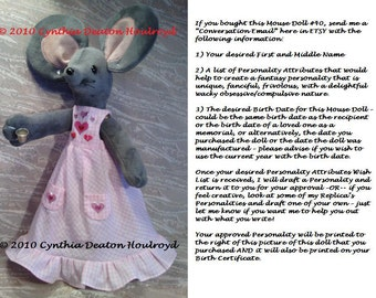 """PICK 1 > Select Doll Name & Personality For CDH """"Three Blind Mice..."""" - Obtain Birth Certificate And Personality Picture For 18"""" Dolls"""