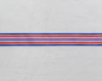 Vintage millinery ribbon, striped rayon ribbon, 11 yards of 1940's striped ribbon