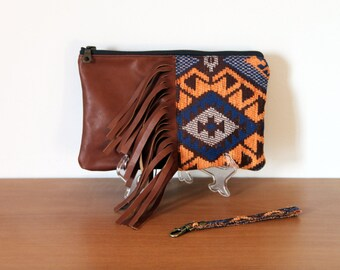 NEW fringe clutch, wristlet, Aztec, Navajo, tribal kilim design, leather and chenille fabric. Brown leather, warm tone fabric. Ready to ship