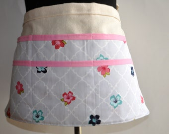 Vendor Apron,  Gray and Pink Women's Utility Apron, Pastel Floral Apron, Teacher apron, Gardening apron.  Ready to ship.