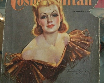 Hearst's International Cosmopolitan Magazine Cover October 1937 or 1939 Cover only. Frame it or Decoupage it. Scotty Dog