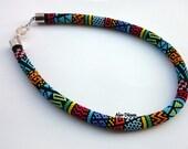 Black Garden Bead Crochet Necklace - Black Garden Beaded Necklace - Black Colorful Garden Handmade Beadwork Necklace -  Bead