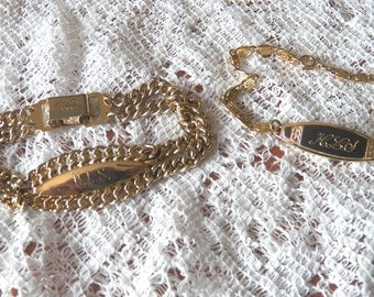Unique Pair of Speidel Women's ID Bracelets