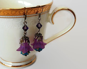 Purple and blue Swarovski crystal vintage style lucite flower dange earrings