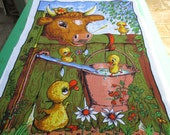 "Tea Towel Lamont - ""Well Well Fancy That"",  Vintage Tea Towel Australian. Cow and Chicks"