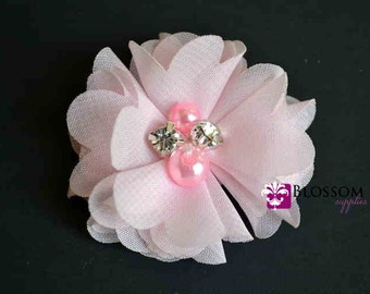 LIGHT PINK Chiffon Flowers - The Anna Collection - Petite Chiffon Flowers with Pearl and Rhinestone Centers - Headband Flower - DIY Bouquet