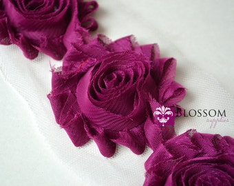 1/2 or 1 YARD Increment - BERRY - Chiffon Shabby Rose Trim - Frayed Flowers - Headband Flowers - DIY Wedding Garter Roses - Wholesale Crafts