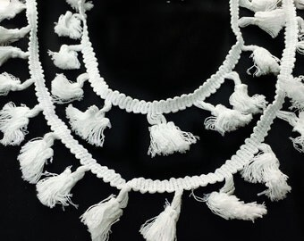 White Pom Pom Tassels Ribbon Trim