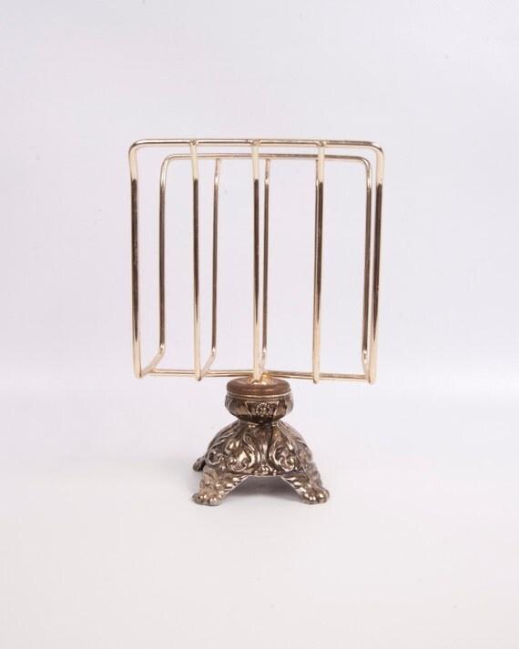 Vintage letter holder brass napkin stand ornate pedestal desk for Vintage letter holder desk