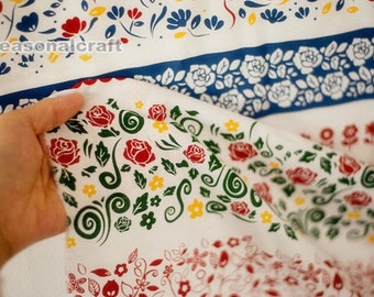 Cotton Linen Fabric Floral Fabric, Russia Style, Colorful Floral Cotton Linen Fabric 1/2 Yard (QT525)