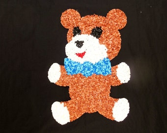 Melted Plastic Popcorn Bear Brown Teddy Bear with Blue Bow Perfect for Baby's Room