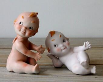 Vintage Kewpie doll set / Kewpie baby / retro kitsch home decor / collectible porcelain baby / retro mini cupid / retro home nursery decor