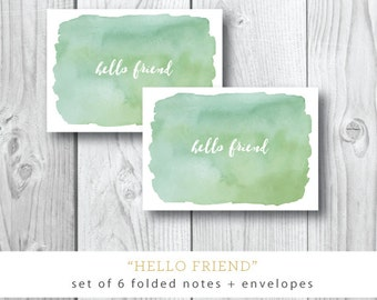 Set of 6 Folded Notecards with Blank Envelope | Hello Friend Watercolor | Thinking of You Custom Cards | Stationery from Darby Cards