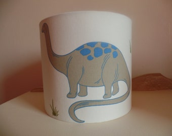 Handmade beautiful 20 cm Drum lampshade in blue, cream, red dinosaur fabric for ceiling or lamp.