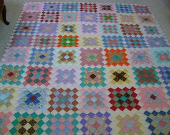 Vintage Great Granny Patch Work Quilt Hand Made Snappy Colors will light up a Room or Wall