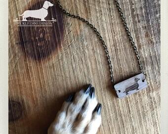 Doxie. Necklace -- (Dog Necklace, Dachshund, Vintage-Style, Brown, Weiner Dog, Birthday Gift, Walnut, Wood Doxie Dog Charm, Weiner Necklace)