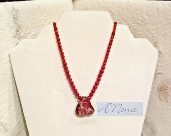 "Unisex  Necklace Genuine Imperial Jasper , Coral and Quartzite & Copper Toggle Clasp "" Love"""