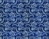 Cloud9 Moody Blues floral fabric - organic cotton print - 1/2 YD