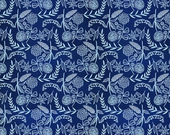 SALE | Cloud9 certified organic cotton fabric - Moody Blues floral fabric - 1/2 YD