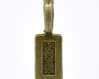 100 Antique Bronze Glue On Bails 21x7mm- SALE