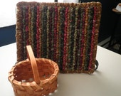 Hand Made 9 x 7 Inch Small Print Country Style Pot Holder / Trivet