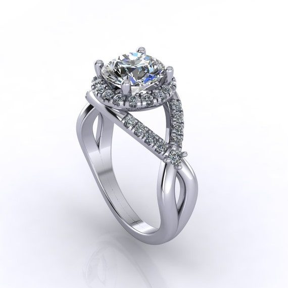 Diamond moissanite engagement ring Style 162WDM