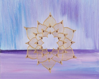 "Horizon Mandala-  Original Acrylic on 8"" x 11"" Canvas"