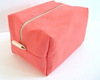 Solid Color Makeup Bag  -  Coral Cosmetic Pouch -  Waterproof Make up Bag
