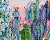 Cactus and Flowers - illustration - giclee print