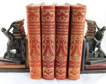 Vintage Set of Red Leather Books fromThe Ridpath Library of Universal Literature for Display