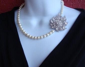 Bridal Pearl and Rhinestone Necklace Elegant Single Strand Swarovski Pearls - Wedding Jewelry, Bridesmaids Jewelry, Bride Necklace, Weddings