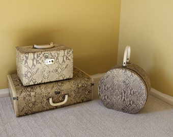 Vintage 1960's Snake Print Set Python Train Case, Suitcase, & Hat Case