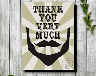 Hipster Beard & Mustache Birthday Thank You Card, Printable Thank You Card, Mustache Bash Birthday Card, Husband Birthday Invite, Notecard