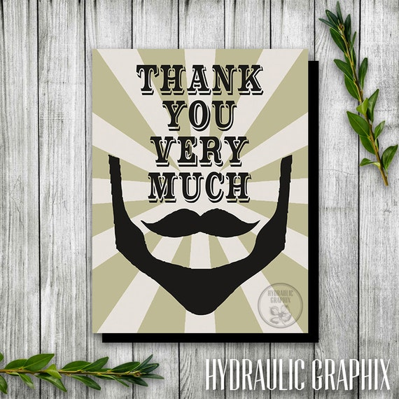 Hipster beard mustache birthday thank you card printable thank il570xn bookmarktalkfo Gallery