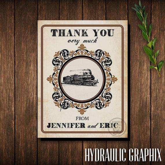 Steampunk Train Thank You Card, Train Party, Printable Thank You Card, Train Wedding Thank You Card, Industrial Theme Thank You Card