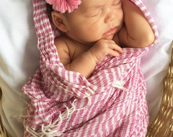 Newborn Headband with Pink Rosette - Accented with Pearls and Beading