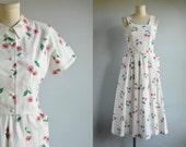 Vintage 30s Dress / 1930s White Floral Print Cotton Pique Print Sundress with Matching Bolero Jacket