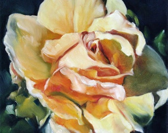 Oil Painting, Original Painting, Rose Art, Yellow Rose Painting, Floral Art, 8x8 Stretched Canvas