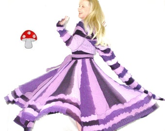 "Elf Coat DEPOSIT Special Order ""Blackberry Cobbler"" Size Medium Dark Purple And Lavender Fairy Twirling Dress Recycled Upcycled Sweater"