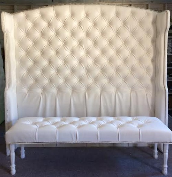 diamond tufted slightly arched wingback headboard and bench, Headboard designs