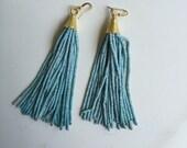 Pale Blue Beaded Tassel Earrings