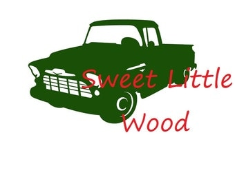 1950's Pickup Truck 3x SVG file in black line with white fill, no fill and color  format, PNG included