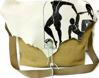 Bag,Messenger,Coffee,Burlap,White,Leather,Crossbody,Matisse,Inspired,Painting,Upcycled