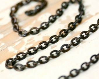 6ft Etched Flat 4mm x 6mm Antiqued Brass Cable Chain, Patterned Solid Brass Chain, Oxidized Textured Flat Chain