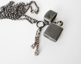Vintage Lighter Necklace Handmade Gunmetal Silver Rhinestone Glam Grunge One of a Kind