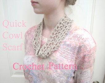 Quick Crochet Cowl Scarf, PDF Crochet Pattern, Beginner Project, Fast Easy Simple, Neck Warmer Headband, Lacy Airy Open