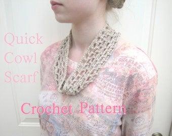 Quick Crochet Cowl Scarf, PDF Crochet Pattern, Beginner Project, Fast Easy Simple, Neck Warmer Headband, Lacy Airy Open