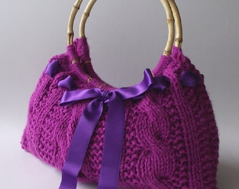 KNITTING BAG PATTERN - Lucia Bag - Knit bag pattern with ribbon, cables pattern pdf pattern Instant Download knitted bag wooden handles